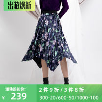 skirt Winter 2020 XS,S,M,L,XL,2XL,3XL Purple flowers on a blue background longuette commute Natural waist A-line skirt Decor Type A 30-34 years old 1812Q204 More than 95% Yifni / Yifei polyester fiber printing