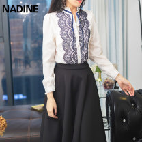 shirt Navy (shirt), black (skirt) S,M,L,XL,2XL,3XL other 96% and above Long sleeves commute Regular stand collar Single row multi button routine other 25-29 years old Self cultivation NADINE court Bows, lace, lace Chiffon