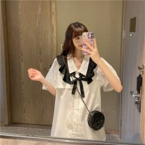 Dress Summer 2020 Shirt + belt Average size Mid length dress Short sleeve puff sleeve 18-24 years old Other / other Lotus leaf edge Y9106# More than 95%