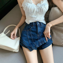 Jeans Summer 2021 blue S,M,L shorts High waist Straight pants routine 18-24 years old Dark color 9811#
