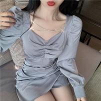 Dress Autumn 2020 Black, silver grey S, M Short skirt singleton  Long sleeves commute V-neck High waist Socket routine Others 18-24 years old Type A Korean version 3925@- (1)