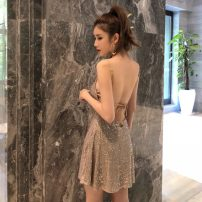 Dress Summer 2021 Champagne, black S,M,L Short skirt singleton  Sleeveless commute Crew neck High waist Solid color Socket One pace skirt other camisole 18-24 years old Type A Korean version Lace up, Sequin D6886
