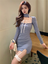 Dress Spring 2021 blue Average size Short skirt singleton  Long sleeves commute square neck High waist Solid color Socket One pace skirt routine Hanging neck style 18-24 years old Type A Korean version Frenulum eight thousand five hundred and ninety-eight #