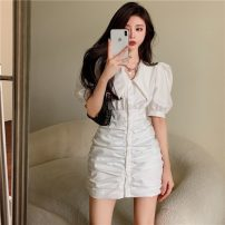 Dress Summer 2021 White, black S, M Middle-skirt singleton  Short sleeve commute other High waist Solid color Socket A-line skirt puff sleeve Others 18-24 years old Type A Korean version 5921#