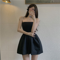 Dress Summer 2021 black S,M,L Short skirt singleton  Sleeveless commute One word collar High waist Solid color Socket A-line skirt other Others 18-24 years old Type A Korean version