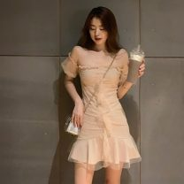 Dress Spring 2021 Apricot, black S, M Middle-skirt singleton  Short sleeve commute One word collar High waist Solid color Socket A-line skirt other Others 18-24 years old Type A Korean version