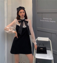 Dress Spring 2021 Graph color S, M Short skirt singleton  Long sleeves commute Half high collar High waist Solid color Socket Princess Dress Princess sleeve Others 18-24 years old Type A Korean version Stitching, gauze, three-dimensional decoration