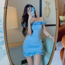 Dress Summer 2020 blue S, M Middle-skirt singleton  Short sleeve commute One word collar High waist Solid color Socket A-line skirt other Others 18-24 years old Type A Other / other Korean version