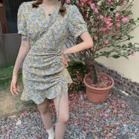 Dress Summer 2021 Yellow flowers, black flowers S, M Middle-skirt singleton  Short sleeve commute V-neck High waist Broken flowers Socket other routine Others 18-24 years old Type A Korean version printing 51% (inclusive) - 70% (inclusive) other polyester fiber