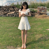 Dress Summer 2021 white Average size Middle-skirt singleton  Short sleeve commute square neck High waist Solid color Socket A-line skirt other Others 18-24 years old Type A Korean version