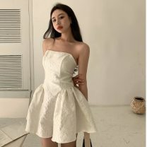 Dress Summer 2021 White, black S, M Middle-skirt singleton  Sleeveless commute square neck High waist Solid color Socket Princess Dress other Others 18-24 years old Type A Korean version