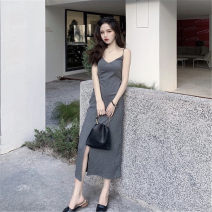 Fashion suit Summer 2021 Average size Black dress, grey dress, white cardigan 18-25 years old Other / other