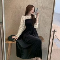Dress Winter 2020 Black velvet Average size longuette Fake two pieces Long sleeves commute Crew neck High waist Big swing 18-24 years old Type A