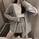 Fashion suit Autumn 2020 Average size Grey coat, white Long Sleeve T-shirt, grey pleated skirt 18-25 years old 31% (inclusive) - 50% (inclusive) polyester fiber
