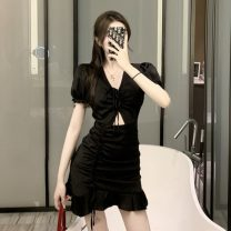 Dress Summer 2021 White, black S,M,L Middle-skirt singleton  Short sleeve commute V-neck High waist Solid color Socket Ruffle Skirt other Others 18-24 years old Type A Korean version Lotus leaf edge, hollowed out, asymmetric