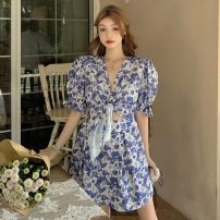 Dress Spring 2021 Lake blue Average size Short skirt singleton  elbow sleeve commute V-neck High waist Decor Socket A-line skirt puff sleeve Others 18-24 years old Type A Korean version Cut out, lace up
