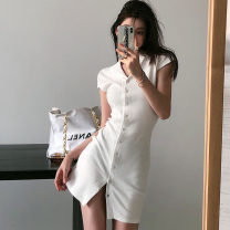 Dress Spring 2021 White, black S, M Short skirt singleton  Short sleeve commute Polo collar High waist Solid color Single breasted One pace skirt Wrap sleeves Others 18-24 years old Type A Korean version Button