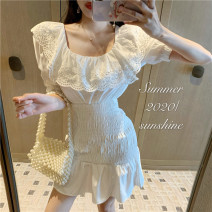 Dress Summer 2021 White, black Average size Middle-skirt singleton  Short sleeve commute square neck High waist Solid color Socket A-line skirt other Others 18-24 years old Type A Korean version Button 5815# 31% (inclusive) - 50% (inclusive) other