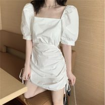 Dress Summer 2021 White, black S, M Short skirt Short sleeve commute square neck High waist Solid color Socket A-line skirt puff sleeve 18-24 years old Type A Korean version cotton
