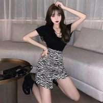 Fashion suit Summer 2021 S. M, average size Black T-shirt, zebra skirt 18-25 years old 7160#