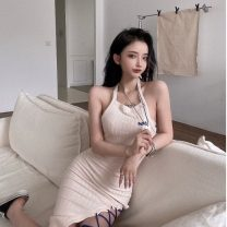 Dress Summer 2021 Picture color S, M Mid length dress singleton  Sleeveless commute Crew neck High waist letter Socket A-line skirt other Hanging neck style 18-24 years old Type A Korean version Asymmetry