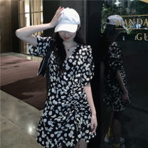 Dress Summer 2021 White, black Average size Middle-skirt singleton  Short sleeve commute V-neck High waist Broken flowers Socket A-line skirt routine Others 18-24 years old Type A Other / other Korean version printing 30% and below other