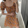 Dress Summer 2021 orange S, M Miniskirt singleton  Short sleeve commute square neck High waist Solid color Socket A-line skirt routine Others 25-29 years old Type A Korean version printing 31% (inclusive) - 50% (inclusive) Chiffon other