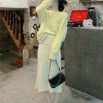 Fashion suit Winter 2020 Average size Yellow sweater, pink sweater, yellow skirt, pink skirt 18-25 years old