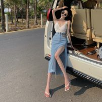 skirt Summer 2021 S,M,L Blue, black longuette commute Natural waist Irregular Solid color 18-24 years old 5135# 51% (inclusive) - 70% (inclusive) Asymmetry Korean version