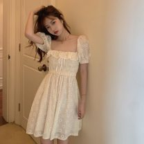 Dress Summer 2021 Off white Average size Middle-skirt singleton  Short sleeve commute square neck High waist Decor Socket A-line skirt Wrap sleeves Others 18-24 years old Type A Korean version fold cotton