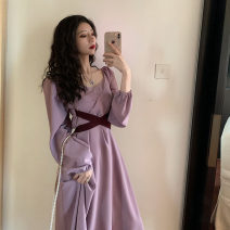 Dress Autumn of 2019 Purple, black Average size Mid length dress singleton  Long sleeves commute V-neck High waist Solid color Socket A-line skirt routine Others 18-24 years old Type A Other / other Retro 31% (inclusive) - 50% (inclusive) other