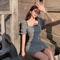 Dress Summer 2021 S, M Short skirt singleton  Short sleeve commute square neck High waist lattice zipper A-line skirt puff sleeve Others 18-24 years old Type A Other / other Simplicity bow More than 95% Chiffon cotton