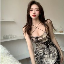 Dress Spring 2021 braces skirt S, M Middle-skirt singleton  Sleeveless commute One word collar High waist Decor Socket One pace skirt other camisole 18-24 years old Type A Korean version tie-dyed seven thousand seven hundred and ninety-three #