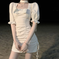 Dress Summer 2021 Apricot S, M Middle-skirt singleton  Short sleeve commute other High waist Solid color Socket A-line skirt puff sleeve Others 18-24 years old Type A Korean version