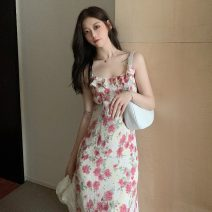 Dress Summer 2021 Floral skirt S,M,L longuette singleton  Sleeveless commute square neck High waist Broken flowers Socket One pace skirt other camisole 18-24 years old Type A Korean version printing