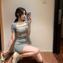 Dress Summer 2020 Gray, white, black Average size Short skirt singleton  Short sleeve commute One word collar High waist Solid color Socket routine 18-24 years old Type A Korean version M540