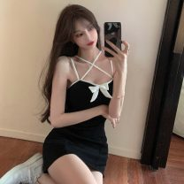 Dress Summer 2021 White, black Average size Short skirt singleton  Sleeveless commute One word collar High waist Solid color Socket One pace skirt other camisole 18-24 years old Type A Korean version bow 6116# 81% (inclusive) - 90% (inclusive)