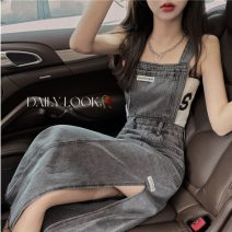 Dress Summer 2021 Medium length skirt Sleeveless singleton  commute square neck Solid color High waist Condom 18-24 years old other A-line skirt Type A straps Korean version 9207 S,M,L