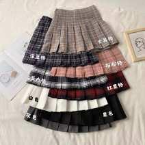 skirt Spring 2021 XS,S,M,L Gray, white, black, khaki, dark blue, pink, red black, blue white Short skirt Versatile High waist Pleated skirt lattice Type A 18-24 years old other fold