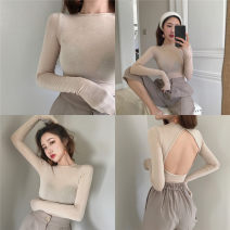 T-shirt Apricot, black, brick red Average size Autumn of 2019 Long sleeves Crew neck Self cultivation Regular routine commute other 51% (inclusive) - 70% (inclusive) 18-24 years old Korean version Solid color Other / other
