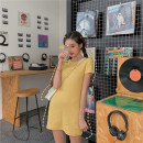 Dress Summer of 2019 Cocoa powder, milk blue, egg tarts yellow, thin black, women purple Average size Mid length dress singleton  Short sleeve commute Crew neck High waist Solid color Socket routine 18-24 years old Type H Other / other Korean version
