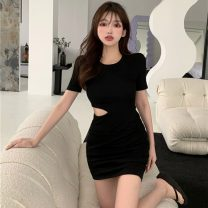Dress Summer 2021 Army green, grey, black Average size Middle-skirt singleton  Short sleeve commute Crew neck High waist Solid color Socket A-line skirt routine Others 18-24 years old Type A Korean version