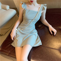 Dress Spring 2021 Picture color S,M,L Short skirt singleton  Sleeveless commute One word collar High waist Solid color Socket A-line skirt routine camisole 18-24 years old Type A backless 8018# polyester fiber