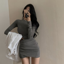 Dress Spring 2021 Gray, black Average size Short skirt singleton  Long sleeves commute Crew neck High waist Solid color Socket One pace skirt routine Others 18-24 years old Type A Korean version zipper 31% (inclusive) - 50% (inclusive) polyester fiber