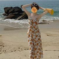 Dress Summer 2021 yellow S, M longuette singleton  Sleeveless commute V-neck High waist Broken flowers Socket One pace skirt other camisole 18-24 years old Type A Korean version printing