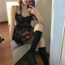 Dress Spring 2021 Picture color Average size Short skirt singleton  Long sleeves commute V-neck High waist Decor Socket Princess Dress other camisole 18-24 years old Type A Korean version printing C8832 71% (inclusive) - 80% (inclusive) other