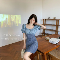 Dress Summer 2021 Paris blue S, M Middle-skirt singleton  Short sleeve commute One word collar High waist stripe Socket A-line skirt puff sleeve Others 18-24 years old Type A Korean version bow 6011# 31% (inclusive) - 50% (inclusive) other