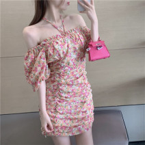 Dress Summer 2021 Floral Dress Average size Short skirt singleton  Short sleeve commute One word collar High waist Broken flowers Socket A-line skirt puff sleeve Hanging neck style 18-24 years old Type A Korean version fold 6097#