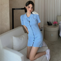 Dress Summer 2020 Average size Middle-skirt singleton  Short sleeve commute Polo collar High waist Solid color Single breasted A-line skirt routine Others 18-24 years old Type H Korean version 6050#