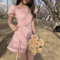 Dress Summer 2021 Pink S,M,L Short skirt singleton  Short sleeve commute Crew neck High waist Solid color Socket A-line skirt puff sleeve Others 18-24 years old Type A Korean version Frenulum